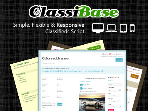 PHP classifieds script ClassiBase